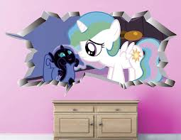 Amazon Com My Little Pony Rarity Luna Wall Decal Sticker Kids Wall Decal Decor Art 3d Vinyl Wall Decal Ah217 Large Wide 40 X 24 Height Home Kitchen