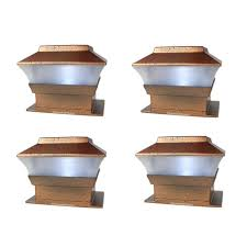 Outdoor Solar Powered Deck Fence Post Cap Lights For 4x4 Wood Post 4 Pack Walmart Com Walmart Com