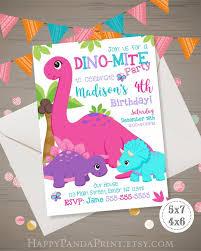 Invitacion De Dinosaurio De La Nina Invitacion De Cumpleanos Del