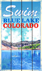 swim blue lake colorado wood sign 14