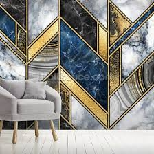 navy and gold art deco wallpaper