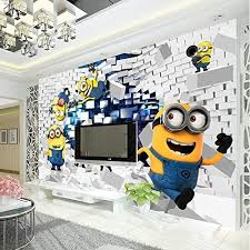 Amazon Com 3d Minions Photo Wallpaper Cartoon Wall Mural Silk Wallpaper Boys Bedroom Kid Room Decor Art Home Decoration Funny 280x200cm Kitchen Dining
