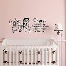 Amazon Com Wall Decal Quote Ohana Means Family Family Means Nobody Gets Left Behind Or Forgotten Lilo And Stitch Wall Decals Nursery Baby Kids Bedroom Wall Art Home Decor Q173 Kitchen Dining