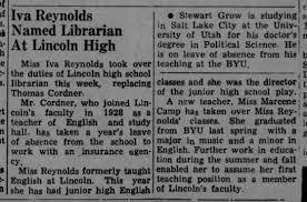 Thomas Cordner English teacher Lincoln High School 1951 - Newspapers.com