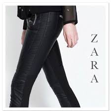 trafaluc jeans black moto faux leather