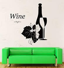 Amazon Com Wall Stickers Vinyl Decal Wine Vine Glass Bottle Grape Leaf Decor For Bar Z1369i Home Kitchen