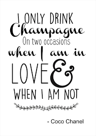 i only drink champagne coco chanel quote grey skart and