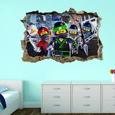 Lego Ninjago Wall Sticker 3d Kids Smashed Breakout Superhero Art Mural Decal Art Wall Kids Kids Wall Decals Superhero Wall Stickers