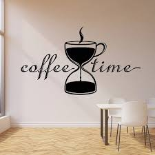 Relax Time Wall Decal Break Room Creative Hourglass Tea Cup Coffee Shop Cafe Interior Decor Vinyl Window Stickers Art Mural M195 Cafe Wall Art Coffee Wall Art Coffee Shop Decor