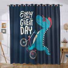 Cute Dinosaur Kids Boys Navy Blue Curtains Children Room Design Turquoise