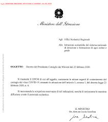 Decreto Presidente Consiglio dei Ministri 25 Febbraio 2020