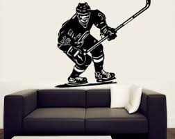 Wall Decal Vinyl Sticker Decals Art Decor Design Hockey Ice Sport Player Nhl Stick Puck Team Extrime Children Kids Coo Boy Wall Art Vinyl Wall Decals Kids Room