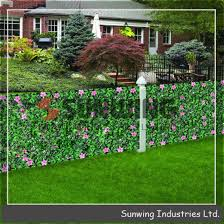 China Artificial Leaves Privacy Hedge Fence With Flowers China Fence And Fencing Price