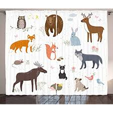 Amazon Com Ambesonne Cabin Curtains Animals In The Springtime Meadow Childish Woodland Fauna Kids Baby Room Nursery Living Room Bedroom Window Drapes 2 Panel Set 108 X 63 White Multi Home Kitchen