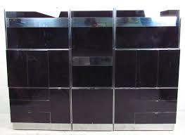 ello chrome and black glass wall unit