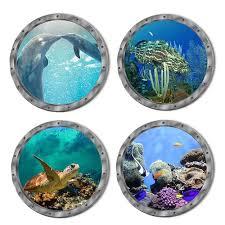 Vova 3d Ocean Sea Animals Porthole Views Wall Sticker Pvc Mural Decal Bathroom Decor