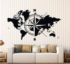 Wall Vinyl Decal World Map Atlas Of The World Compass Home Interior De Wallstickers4you
