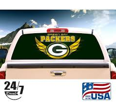 Green Bay Packers Rear Window Graphic Perf Decal Tint Print Etsy