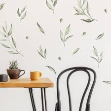 Beautiful Soft Olive Leaves And Branches Wall Stickers In Muted Green Colours Made Of Sundays
