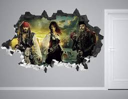 Amazon Com Pirates Of The Caribbean In The Seas Wall Decal Smashed 3d Sticker Vinyl Decor Mural Movie Broken Wall 3d Designs Ah81 Small Wide 22 X 12 Height Home