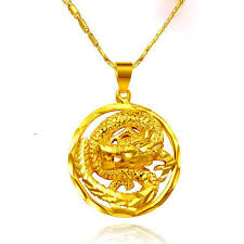 golden dragon pendant necklace chain