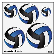 Volleyball Dark Blue Black And White Wall Decal Zazzle Com