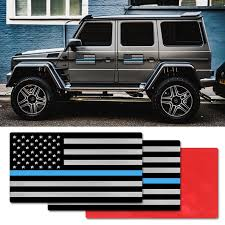 1pc New Aluminum Thin Blue Line American Flag Car Sticker 3d Stereo Personality Metal Police Officer Decal 3 2 X1 75 Car Decor Car Stickers Aliexpress