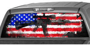 American Rifle Flag Rear Window Graphic Decal Print Sticker Truck Ar15 M16 Ebay