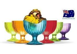 set 6 colourful glass ice cream bowls