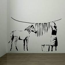 Large Banksy Sticker Zebra Stripes Laundry Room Wall Art Mural Transfer Uk Decal Ebay