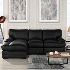 black leather sectional sofa couch with