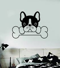 French Bulldog Bone Dog Decal Sticker Wall Vinyl Art Home Room Home De Boop Decals