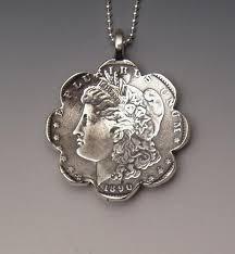 daisy dollar pendant made from morgan