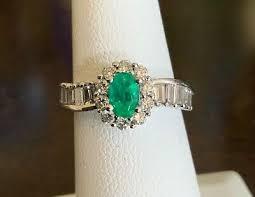 jewelry emerald diamond ring 14k wg