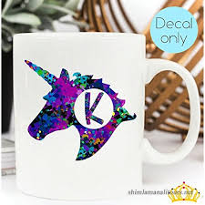 Letter K Monogram Unicorn Decal For Yeti Cup Tumbler Laptop Or Car 3 Inch Height B079lylcyb