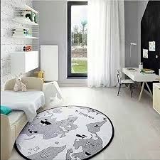 Hiltow World Map Rug Kids Rug Child Game Mats Baby Play Mat Round Area Rug Diameter 53 Inches Kids Playmat Baby Bed Carpets For Kids