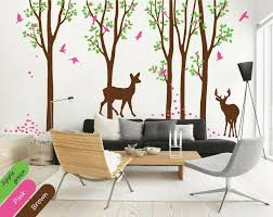 Tall Trees Wall Decal Nursery Decoration With Cute Birds And Deer Stickers Kr007 Ebay
