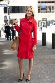 Sarah Mintz, Business Development Manager at a financial firm, wearing red  Lacoste trench coat, Kate Spade leather tote and Chri… | Fashion, Wearing  red, Women wear