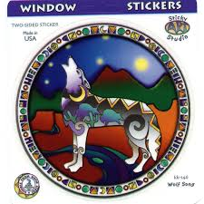 A050 Stained Glass Wolf Art Decal Window Sticker