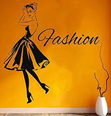 Amazon Com Elegantdecal Wall Decal Window Sticker Beauty Salon Woman Face Fashion Style Clothing Boutique Dress Black Dress Model Hatgmi22 Home Kitchen