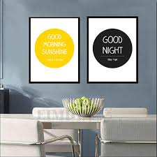 modern quotes good night sunshine morning yellow black circle