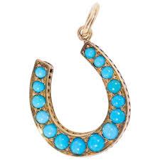 antique victorian turquoise horseshoe
