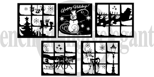 Set Of 5 Vinyl Decal Stickers For Glass Blocks Christmas Gift Holiday Home Decor