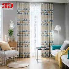 Modern Geometric Cotton Curtains For Kids Bedroom Drapes Window Treatments Blinds Blue