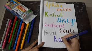 HOW TO WRITE NAME IN CALLIGRAPHY / BRUSH CALLIGRAPHY / NAME CALLIGRAPHY -  YouTube
