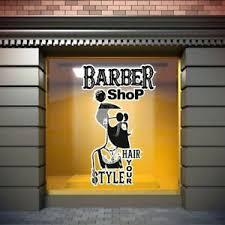 Barber Shop Window Stickers Signs Decal Salon Modern Hairdresser Unique Sticker Ebay