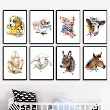 Rabbit Sheep Cow Dog Pig Horse Farm Animal Nordic Posters And Prints Wall Art Canvas Painting Wall Pictures Baby Kids Room Decor No Frame Wish