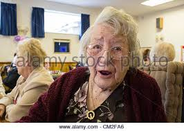 Old lady aged 104 years old deep in thought in a care home Britain, Uk  Stock Photo - Alamy