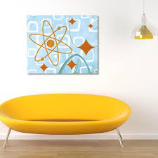 Creative Gallery 20 In X 24 In Atom And Orange Stars Printed Canvas Wall Art Ret00963c2024t The Home Depot