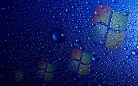 تحميل خلفيات شعار ويندوز قطرات الماء خلفية زرقاء عريضة 2880x1800 جودة عالية Hd صور خلفيات
